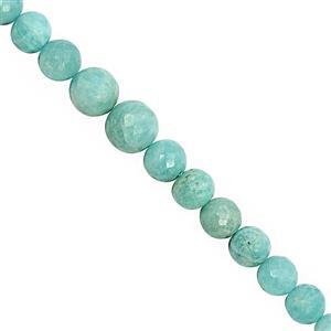 90cts Amazonite Graduated Faceted Round Approx 6 to 11mm, 18cm Strand