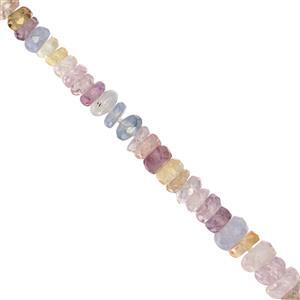 15cts Multi-Colour Sapphire Faceted Rondelle Approx 2x1 to 4x1mm, 10cm Strand