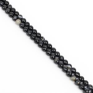 8am Special! 2x 150cts Dyed Black Stripe Agated Faceted Rounds Approx 8mm, 38cm Strand