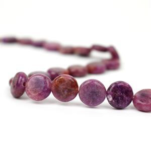 190cts Lepidolite Puffy Coins Approx 12mm, 38cm Strand