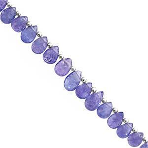 15cts Tanzanite Top Side Dill Graduated Faceted Pear Approx 6x4 to 8x5mm, 10cm Strand with Spacers