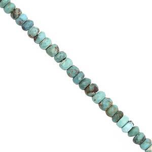 CLOSE OUT DEAL! - 25cts Sleeping Beauty Turquoise Graduated Faceted Rondelle Approx 3x1.5 to 4x3mm, 20cm Strand
