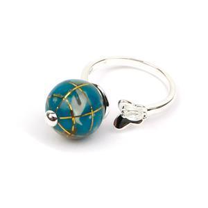 Size L to M Atlas Globe White Zircon Sterling Silver Ring
