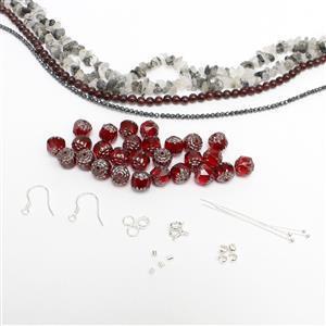 Be a Devil; Red Garnet, Black Rutile Quartz, Cathedral Beads, Haematite & 925 S/S Findings