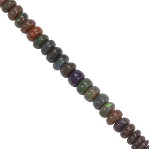 16cts Ethiopian Black Opal Smooth Rondelle Approx 3x1mm to 5x2mm 19cm Strand