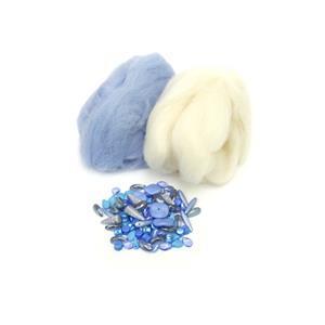 Skyla; Baby Blue & White Wool Tops 5g, Preciosa Ornela Trade Mark Bead Mix Blue 20g