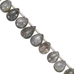 30cts Moss Aquamarine Side Drilled Smooth Pears Approx 5x6 to 7x10mm, 19cms Strand with Spacers