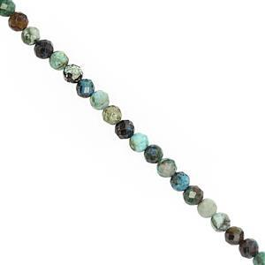23cts MultiI Chrysocolla Faceted Round Approx 3.5 to 4mm, 25cm Strand
