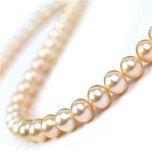 Peach Freshwater Cultured Near Round Pearls Approx 9-10mm, 38cm Strand