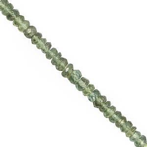 45cts Green Apatite Faceted Rondelle Approx 2.5x1 to 5x2.5mm, 32cm Strand