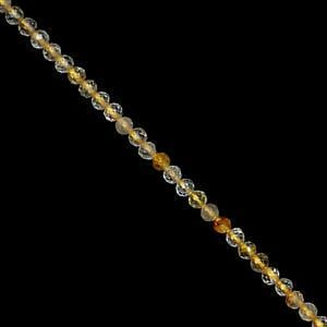 10cts Golden Rutile Faceted Round Approx 2mm, 38cm Strand
