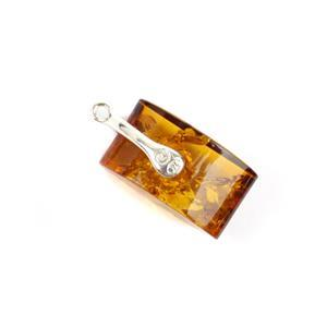 Baltic Cognac Amber Sterling Silver Pillow Pendant Approx 26x12mm