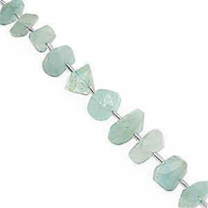 100cts Aquamarine Graduated Faceted Unusual Tumble Approx 8.5x4.5 to 15x9mm, 15cm Strand with Spacers
