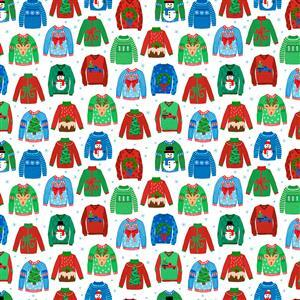 Christmas Sweater Weather on White Fabric 0.5m