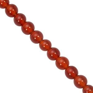 31cts Red Onyx Smooth Round Approx 4mm, 27cm Strand