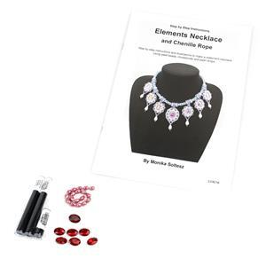 Fire Kit; Seedbeads, Oval Rhinestones and Shell Pearl Drops with Booklet by Monika Soltesz