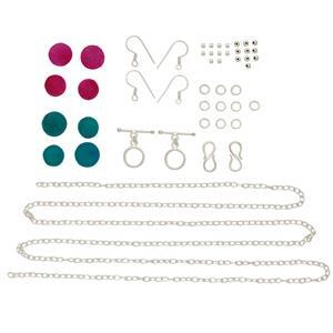 Silver Plated Copper Jewellery Finding Kit Inc 50cts Sky Blue & Pink Druzy, Approx 47Pcs.