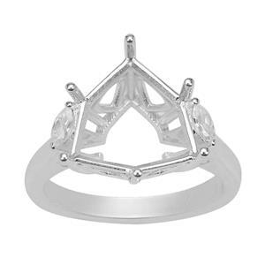 Rudi Wobito Alpine Cut 925 Sterling Silver Ring Mount With White Zircon Marquise Side Detail (To Fit 12mm Alpine Cut Stone)