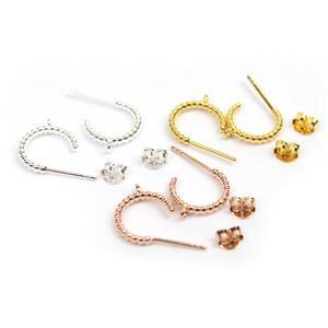 3 Pairs 925 Sterling Silver Twist Hoop Earrings With Loop Approx 12mm (1 x Silver, 1 x Gold Plated, 1 x Rose Gold Plated)