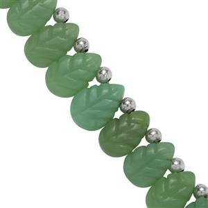 105ct Chrysoprase Side Drill Carved Elongated Pears Approx 10x7 to 15x11mm, 22cm Strand With Spacers
