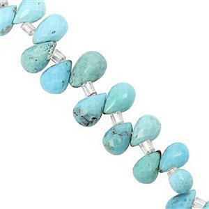30cts Arizona Turquoise Top Side Drill Graduated Faceted Drops Approx 5x3 to 9x5mm, 15cm Strand with Spacers