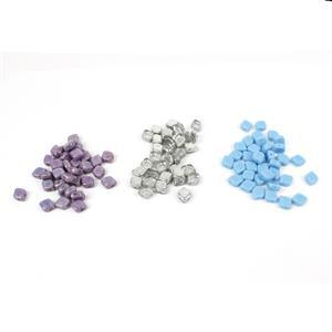 Czech Rhombus Beads - Chalk White, Crystal Labradorite, Turquoise. (150pcs)