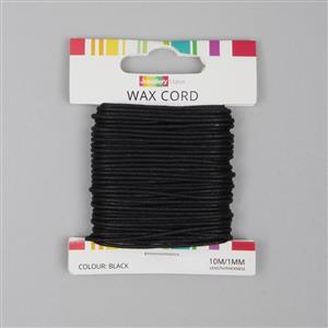 10m Black Wax Cord 1mm