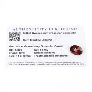 5.8cts Gooseberry Grossular Garnet 14x10mm Oval  (N)
