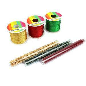 Noel; 3 x 30m Sparkle Nylon Threads, Approx 0.5mm, Miyuki 8/0 Red, Gold & Green