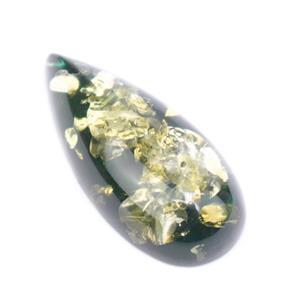 Baltic Green Amber Elongated Drop, Approx. 34x16mm