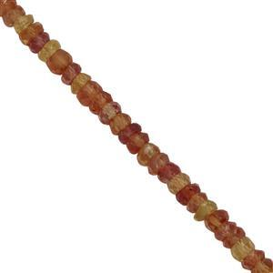 25cts Orange Sapphire Faceted Rondelles Approx 2.5x1 to 3.5x2mm, 28cm Strand