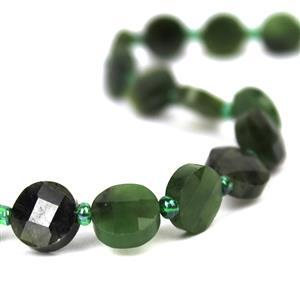 60cts Nephrite Faceted Coin Approx 10mm, 20cm