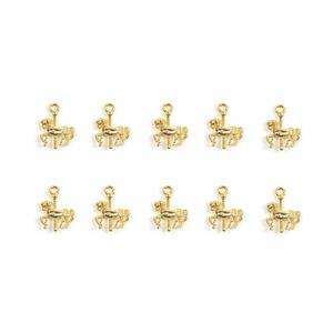 Gold Colour Base Metal Carousel Horse Charms Approx 15x11mm(10pcs)