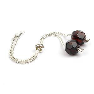 Sterling Silver Slider Bracelet with Baltic Cherry Amber Bead Approx 10x8mm