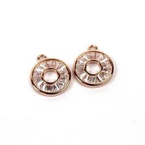 Rose Gold Plated 925 Sterling Silver Cubic Zirconia Round Pendants Approx 11mm (2pcs)