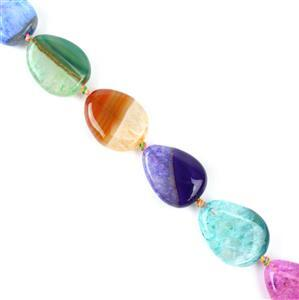 250cts Dyed Multi-colour Strip Agate Puffy Pears Appox 15x20mm, 38cm