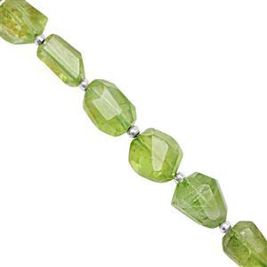 30cts Kashmir Peridot Graduated Faceted Tumbles Approx 9.5x7.5 to 14x12mm, 10cm Strand with Spacers