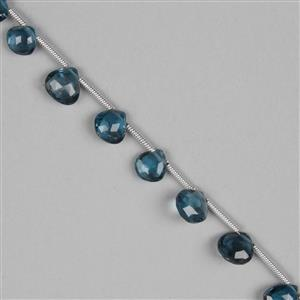 20cts London Blue Topaz Graduated Faceted Drops Approx 4 to 7mm, 17cm Strand.