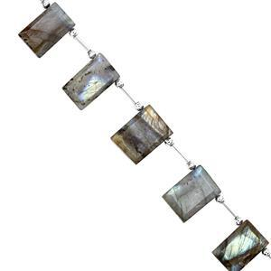90cts Labradorite Faceted Rectangle Approx 13x10.5 to 20.5x14mm, 16cm Strand with Spacers