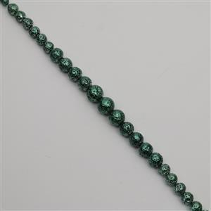 160cts Army Green Rock Lava Graduated Plain Rounds Approx Round 6 to12mm, 38cm Strand
