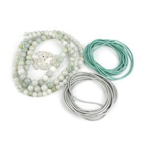 Zen Garden; Leather Cords, Jadeite Rounds 6mm & 8mm, Spacers