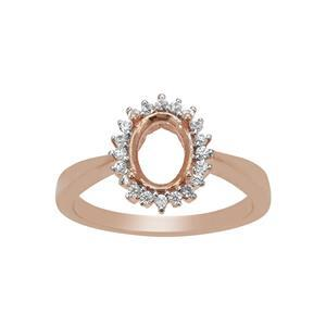 Rose Gold Plated 925 Sterling Silver Oval Ring Mount With White Zircon (To fit 8x6mm gemstone)- 1pcs