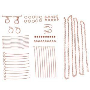 Rose Gold Plated Base Metal Essential Findings Pack Inc. Toggle Locks & Lever Back Earrings (77pcs)