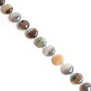 490Cts Natural Gray Agate Puffy Coin With Quartz Approx 19mm, 38cm strand