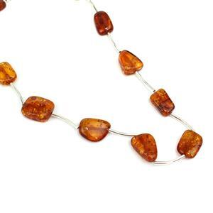 Baltic Cognac Amber Rectangular Beads Approx 14x8 -16x11mm 38cm Strand Inc. Sterling Silver Spacers