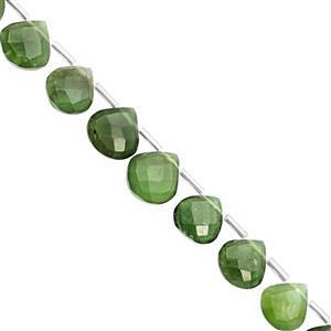 78cts Serpentine Top  Drilled Faceted Heart Approx 8.5 to 13.5mm, 22cm Strand with Spacers