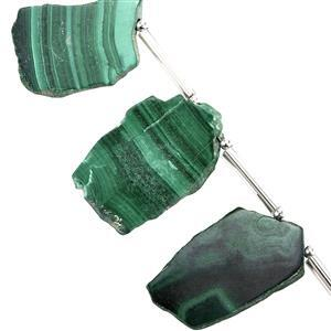 45cts Malachite Side Drill Plain Flat Fancy Approx 14.5x7 to 25x18mm, 11cm Strand with Spacers