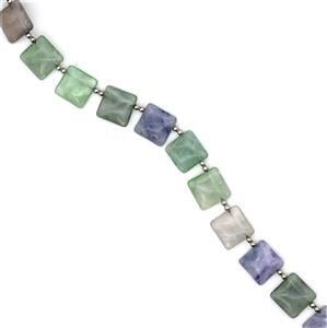 310ct Multi-Fluorite Top Drilled Squares with spacers Approx 16mm