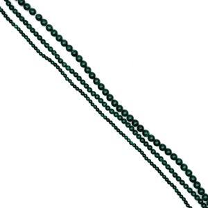 481cts Malachite Plain Rounds Approx 4 to 8mm, 38cm Strands (Set of 3)