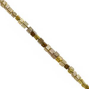 1.50cts Natural Dark Golden Diamond Graduated Faceted Cube Approx 1 to 2mm, 5cm Strand
